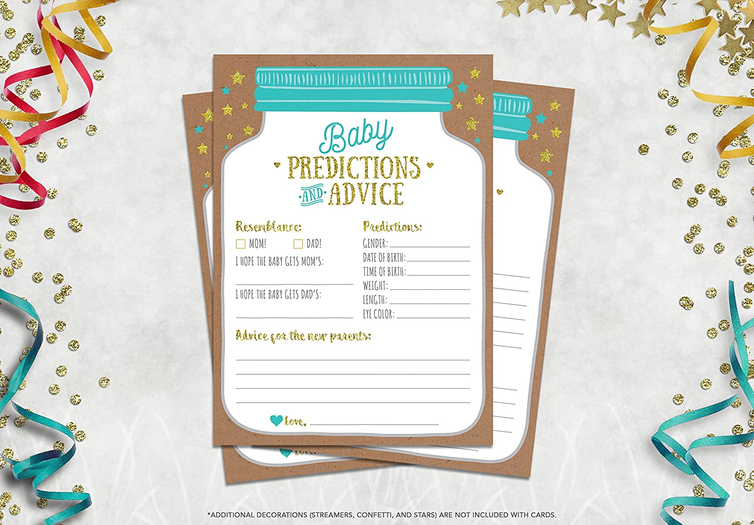 50 Mason Jar Baby Shower Prediction And Advice Cards Gender Neutral Boy Or Girl Baby Shower Games Favors Neatz Nbp0001 Event Party Supplies Invitations