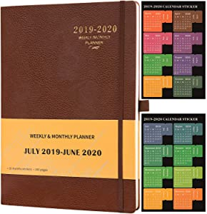 """Planner 2019-2020 - Academic Weekly & Monthly Planner, 8.5"""" x 11"""", Soft Cover with Pen Holder and Thick Paper, Back Pocket with Julian Date - Bonus 24 Notes Pages + Gift Box - Brown"""