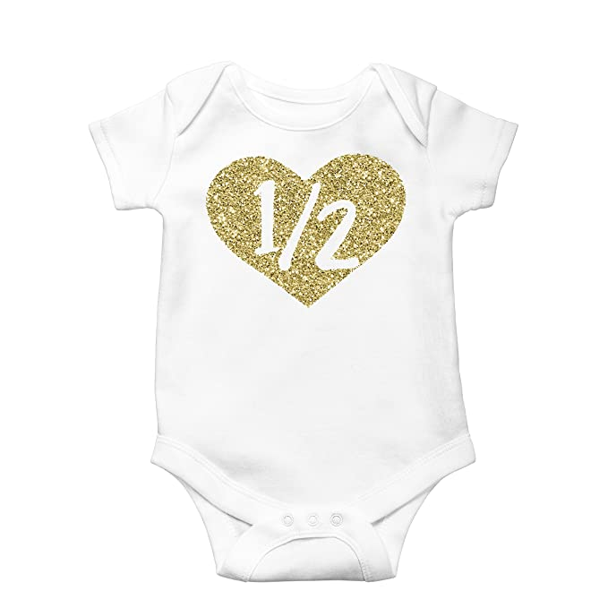 a84fb7a23 Olive Loves Apple Half Birthday Bodysuit Girls 1/2 In Heart Birthday  Glitter Gold Outfit
