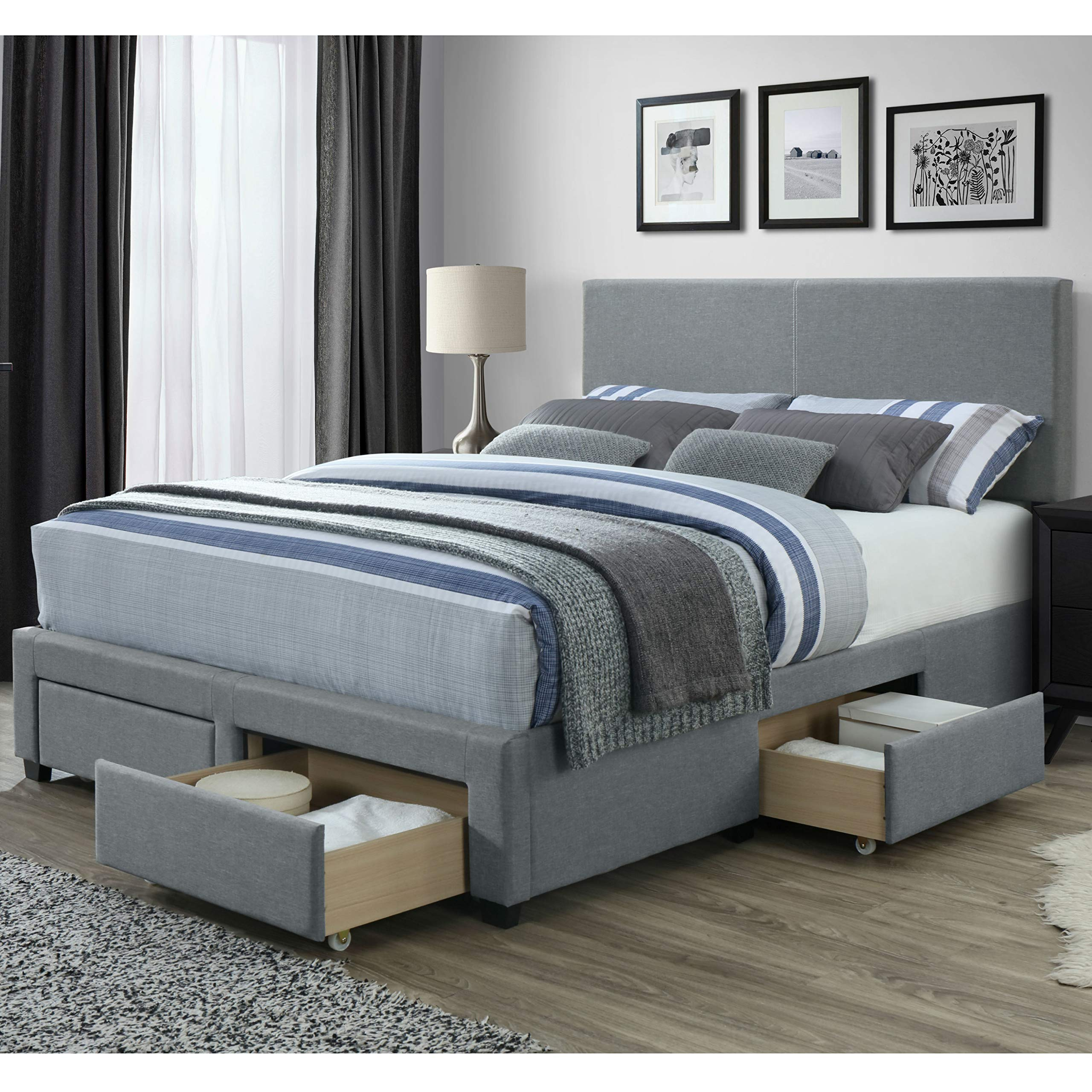 DG Casa Kelly Panel Bed Frame with Storage Drawers and Upholstered Headboard, Queen Size in Grey Linen Style Fabric by DG Casa