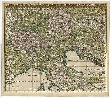 Antique Print Italy Austria Slovenia Danube Croatia Visscher