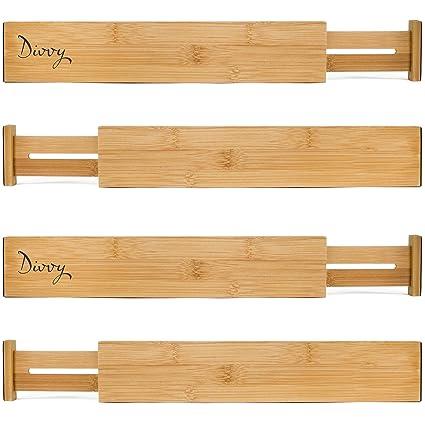 Attirant Bamboo Wooden Drawer Divider, Set Of 4 | Adjustable Organizers | Natural  Organic Bamboo |