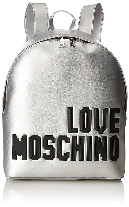Borsa Soft Nappa Pu Argento, Womens Backpack Handbag, Silver, 14x36x38 cm (B x H T) Love Moschino