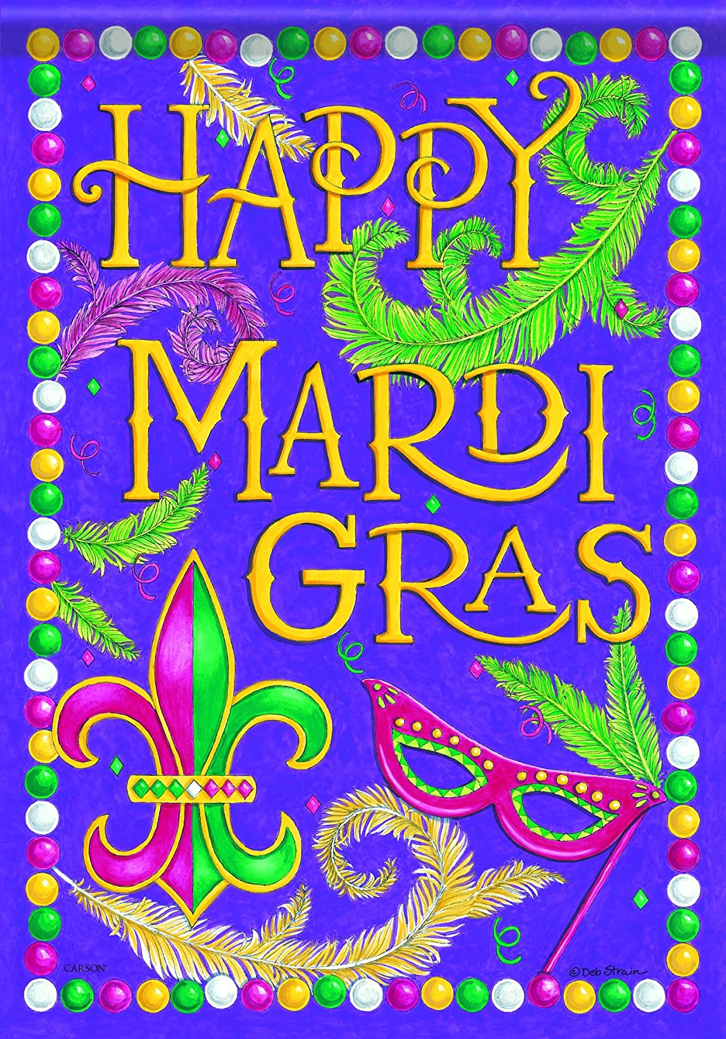 Carson Home Accents Flagtrends Classic Garden Flag, Happy Mardi Gras