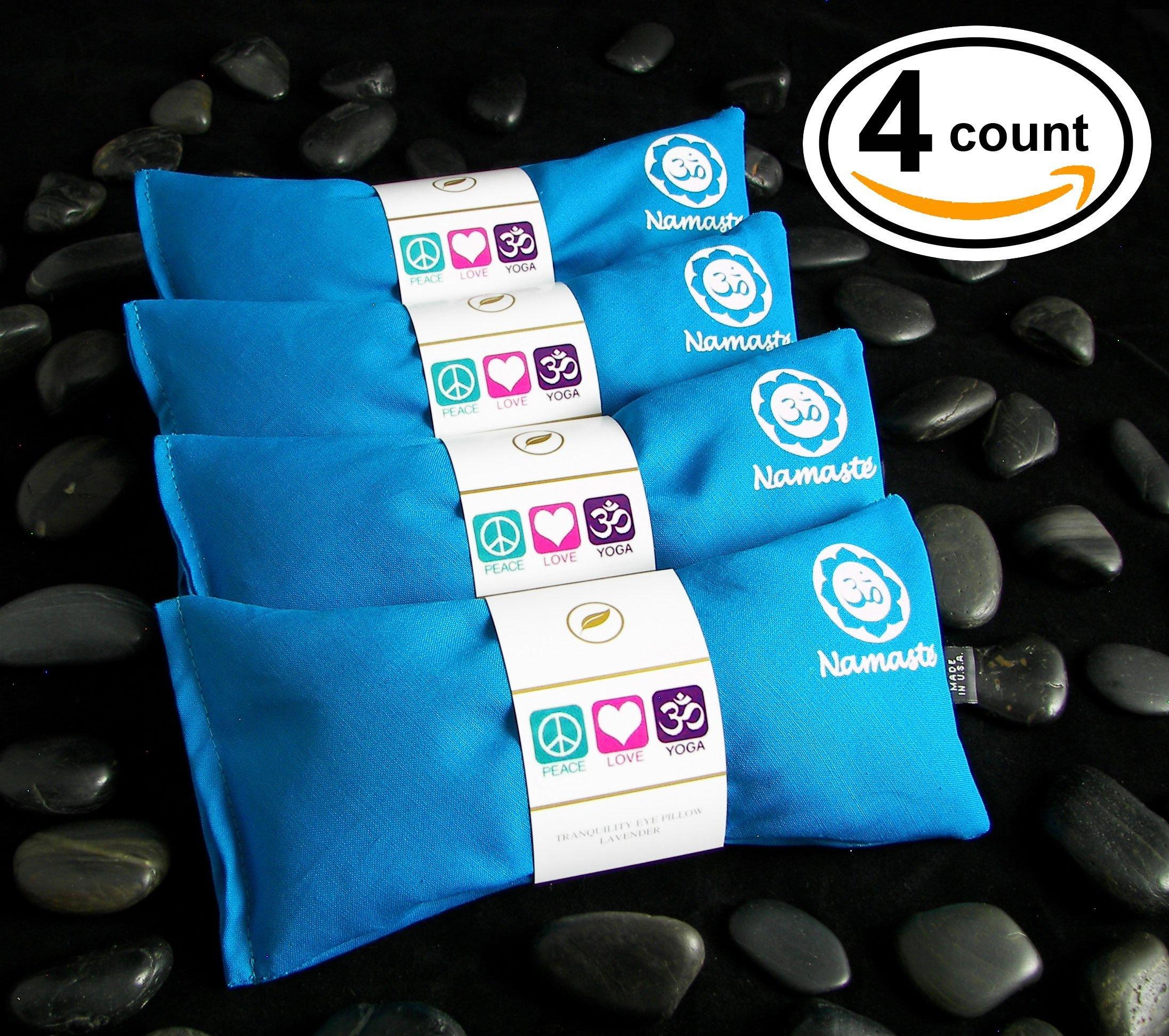 Happy Wraps Namaste Yoga Eye Pillows - Unscented Eye Pillows for Yoga - Set of 4 - Turquoise Cotton by Happy Wraps