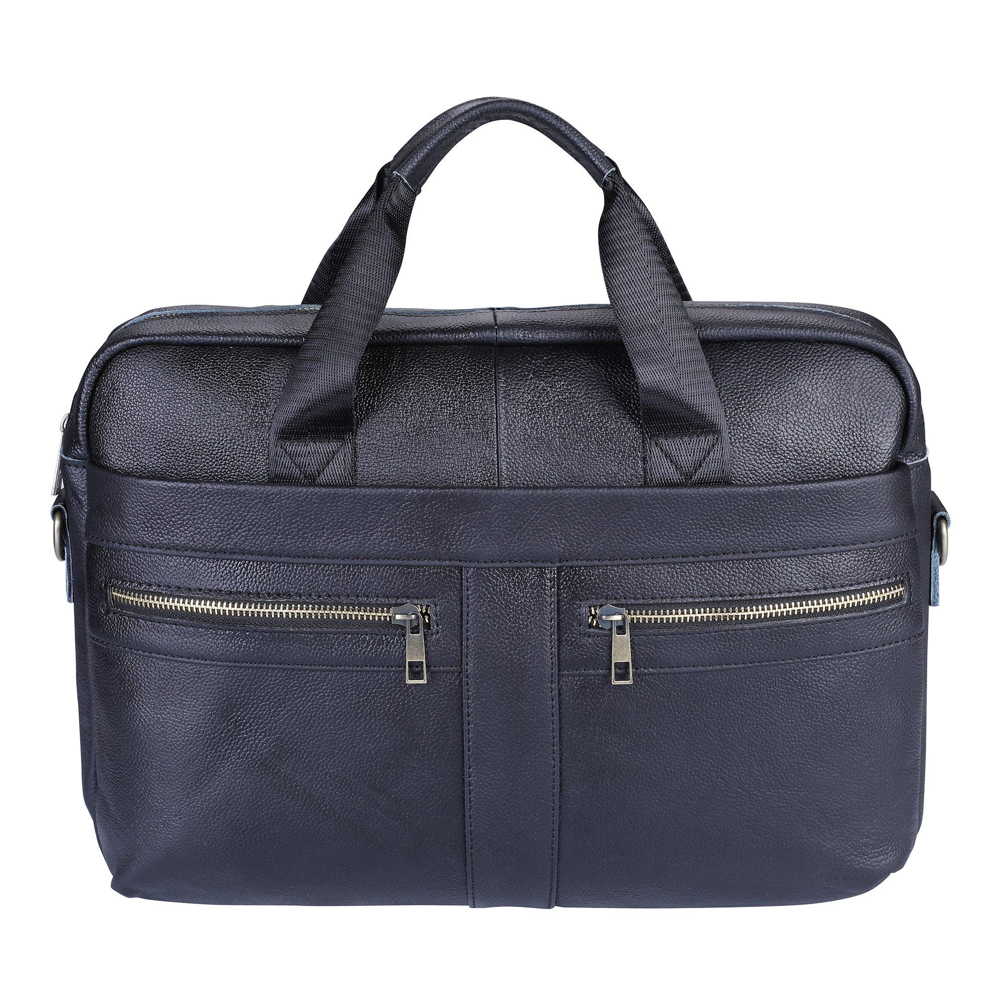 Men's Briefcase TECOOL Genuine Leather Laptop Business Shoulder Bag