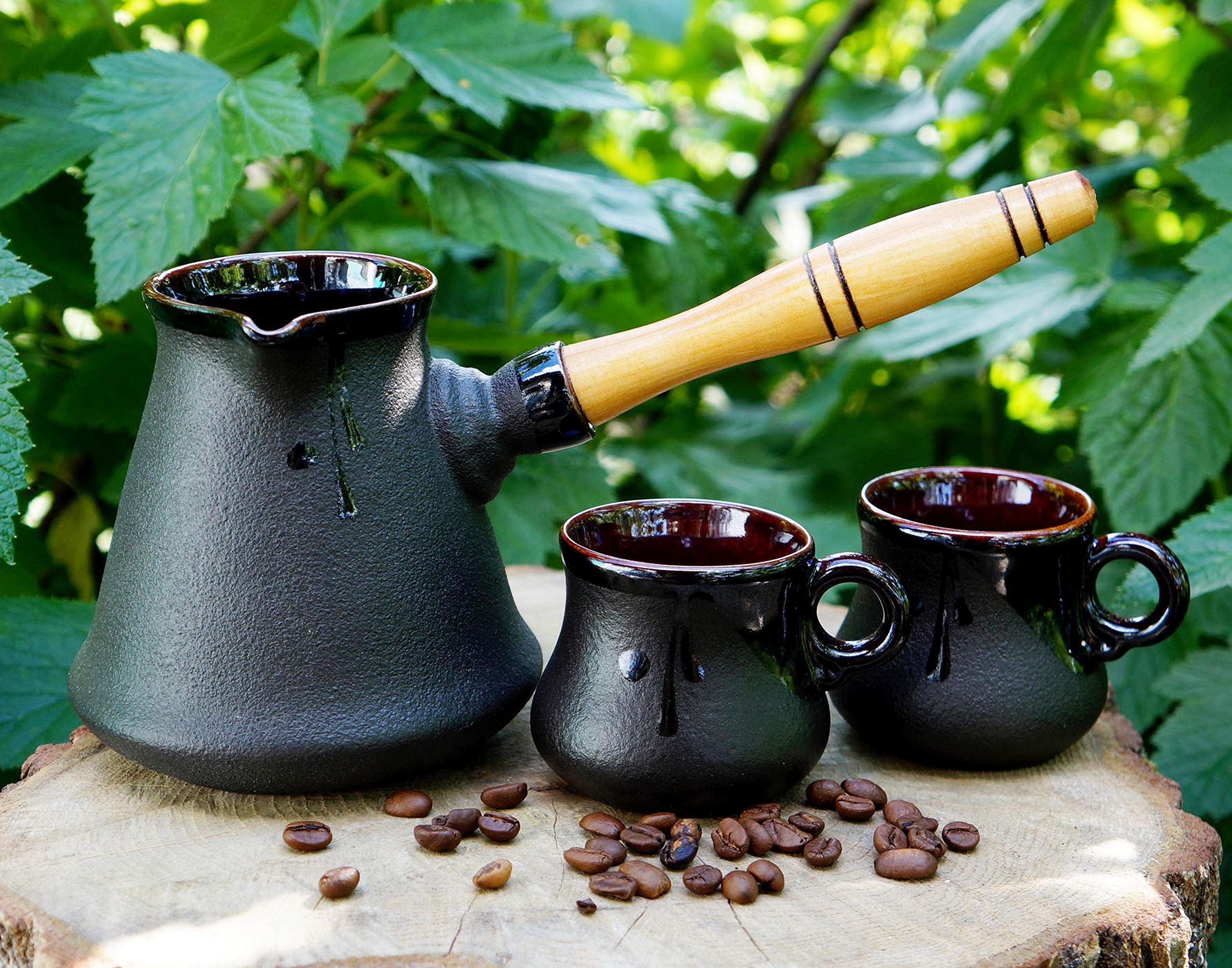 Turkish coffee pot two cups, Handmade black ceramic set, kitchen gifts for mom dad brother