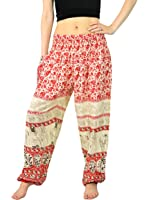 Orient Trail Women's Smocked Waist Tribal Elephant Dance Yoga Harem Pants US Size 4-18