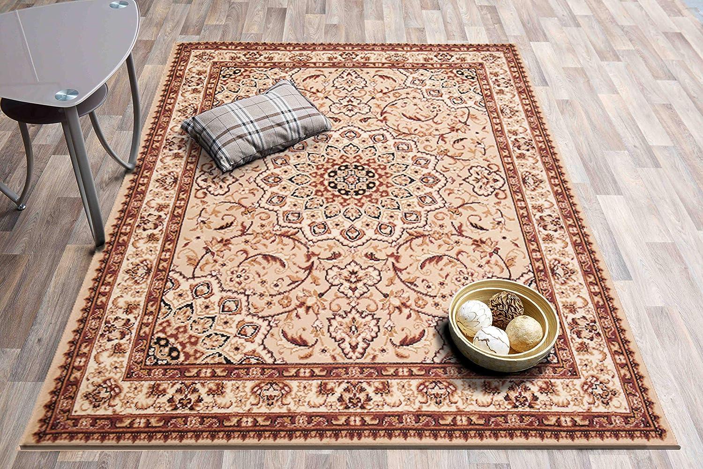 Carpeto Klassischer Orientteppich & & & Perserteppich mit Orientalisch Ornamente Mandala Muster Kurzflor in Beige Cream Top Preis - ÖKO Tex (250 x 350 cm) 3c3383