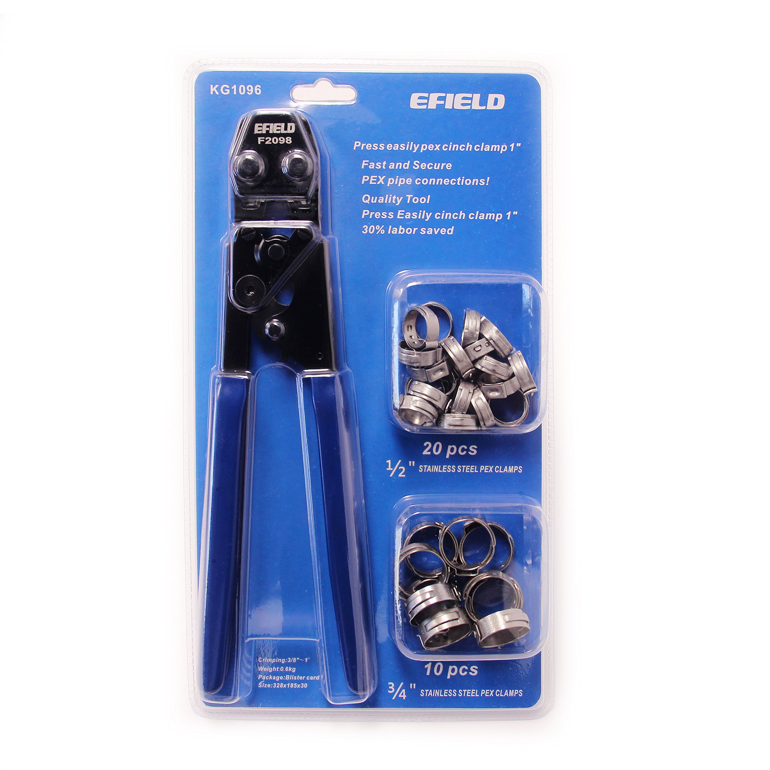 EFIELD PEX Cinch Clamp Crimping Tool for Clamps Sizes: 3/8'' to 1'' with Go-No/Go Gauge 20pcs 1/2'' and 10 pcs 3/4'' Clamps Fits Sharkbite, Watts, and All US F2098 Standard