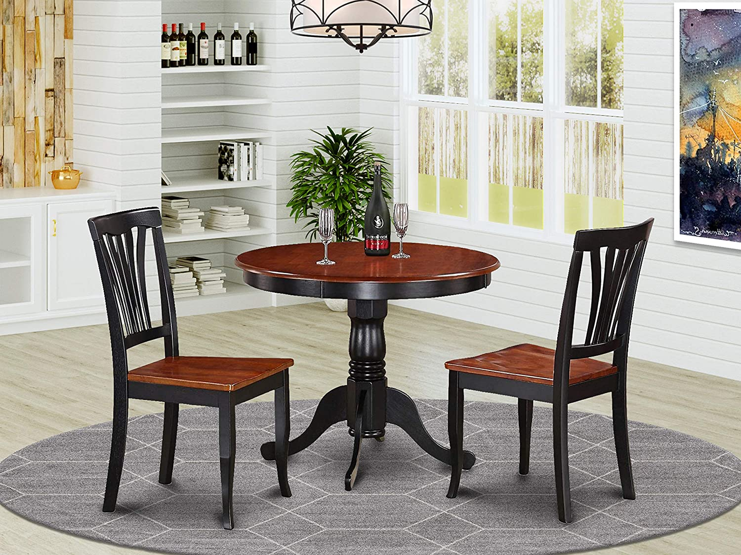 Amazon Com East West Furniture Modern Dining Table Set 2 Amazing Wooden Dining Chairs A Gorgeous Dining Table Wooden Seat Cherry And Black Dining Table Table Chair Sets