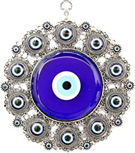 Erbulus Turkish X-Large Glass Blue Evil Eye Wall Hanging Ornament with Round Eye Design - Metal Home Decor - Turkish Nazar Bead Amulet - Protection and Good Luck Charm Gift in a Box