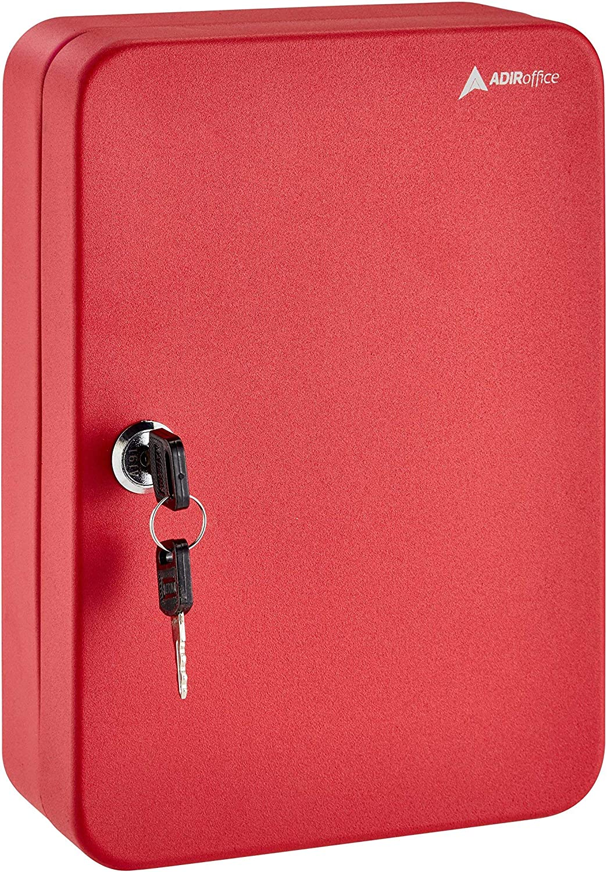 AdirOffice Key Steel Security Storage Holder Cabinet Valet Lock Box (48 Key, Red)