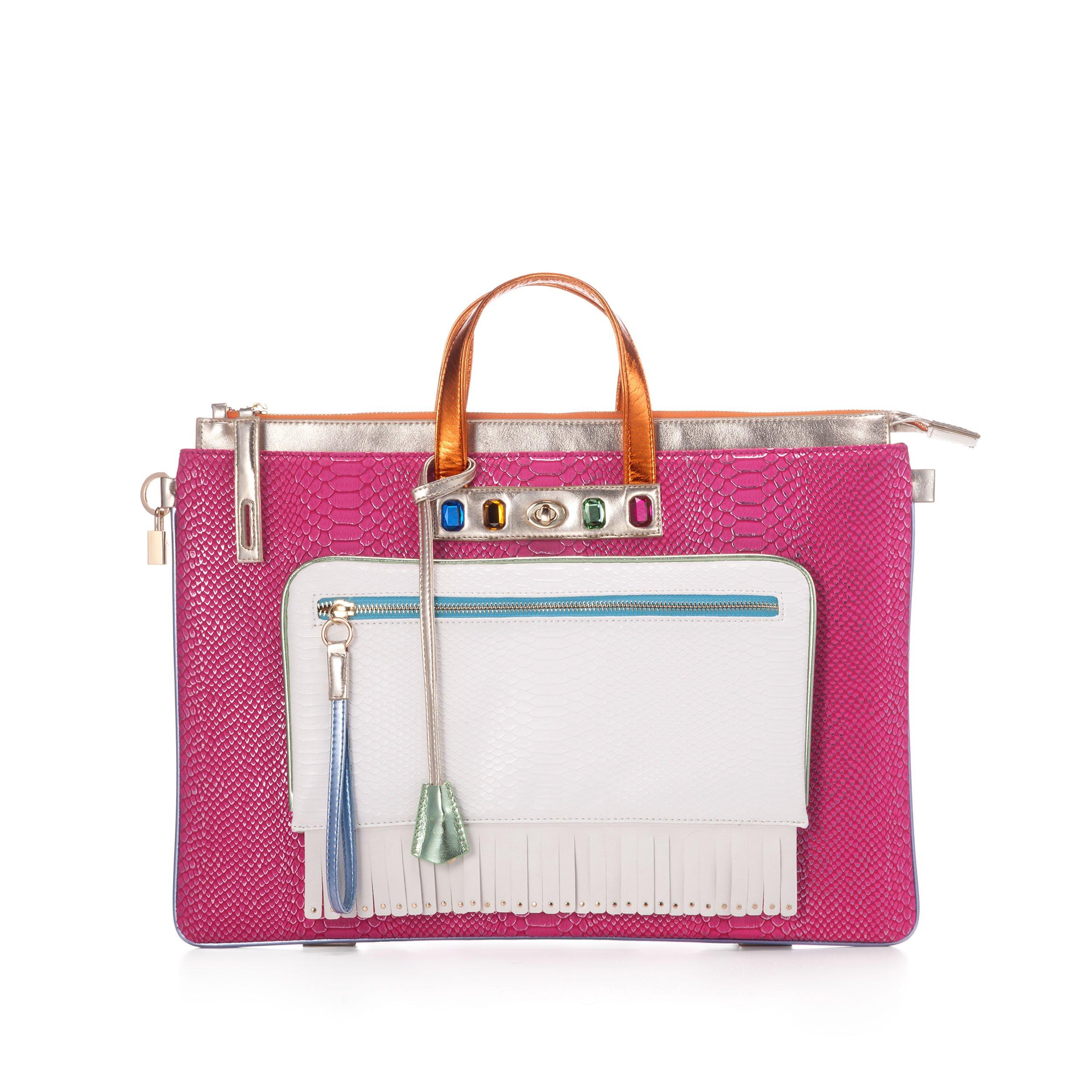 MULAYA Faux Leather Designer Laptop Backpack. Multicolor