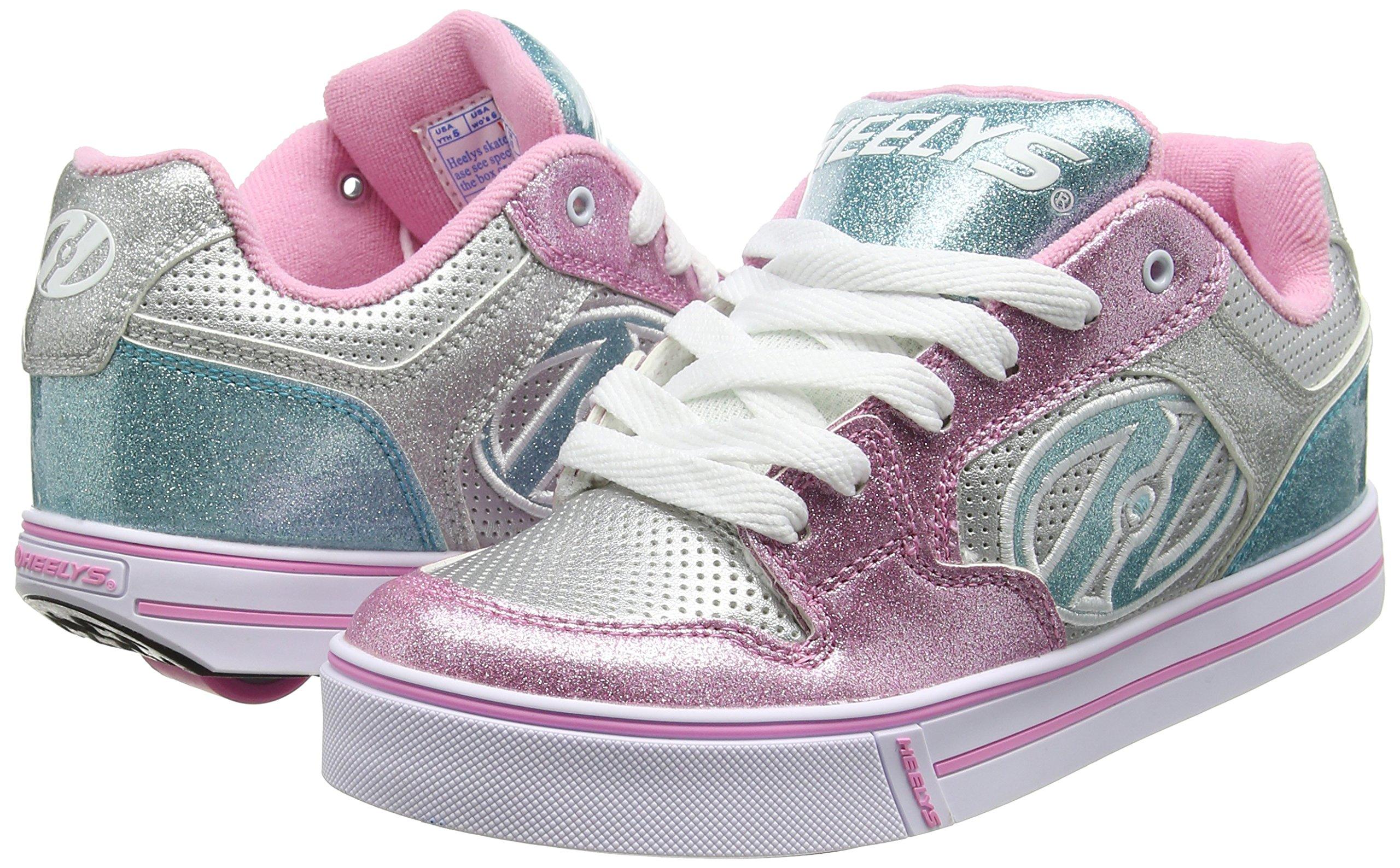 Heelys Girl's Motion Plus (Little Kid/Big Kid/Adult) Silver/Pink/Blue/Glitter Shoe by Heelys (Image #5)