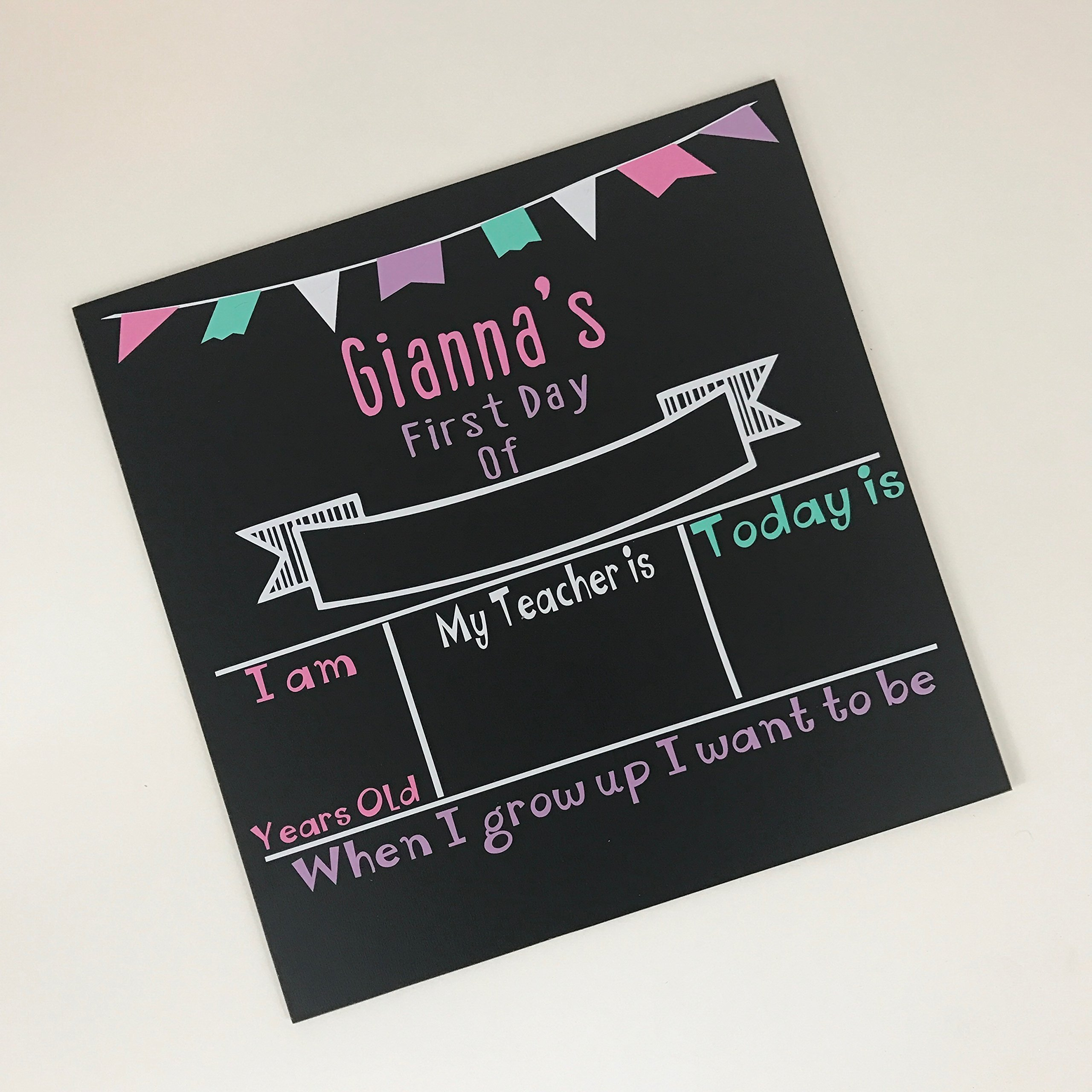 Personalized First day of School Chalkboard Sign- Pastel colors