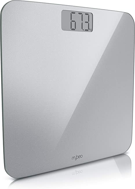 risoluzione 0,1Kg lb max Bilancia pesapersone digitale in vetro grigio satinato 180kg Spessore vetro di sicurezza da 6mm   display LCD kg On Off Automatico MyBeo