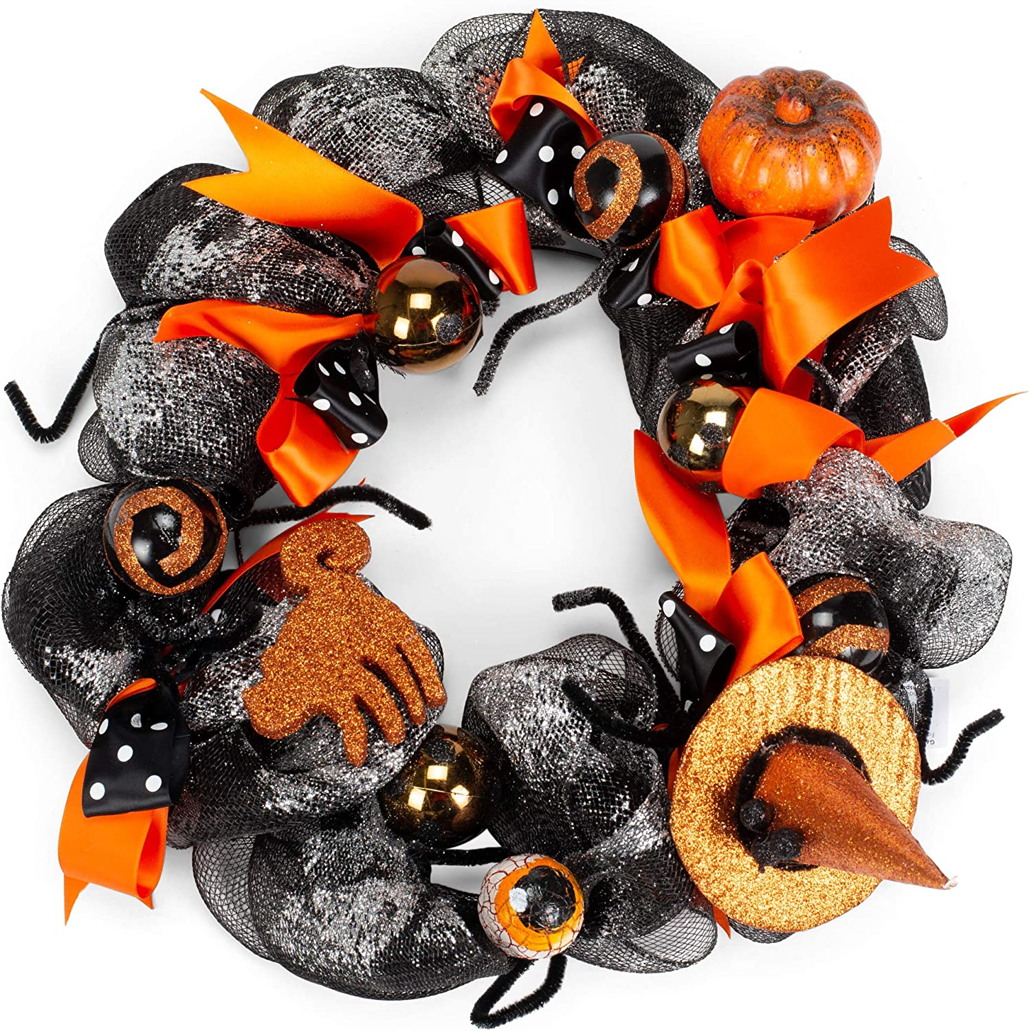 Transpac Witch Bows Midnight Black 18 X 18 Polyester Fabric And Wire Halloween Wreath Home Kitchen