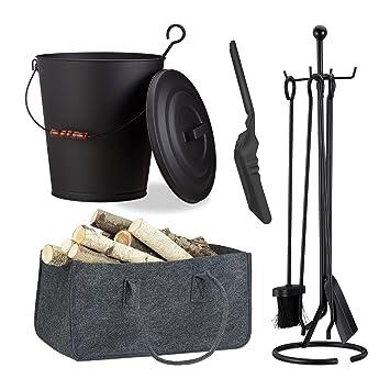 Kehrgarnitur 3 tlg Kaminreinigungs-Set Ascheeimer mit Deckel Kohlenschaufel