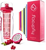 Hydracy Bottiglia con infusore per acqua aromatizzata alla frutta con esclusiva sacca isolante antitraspirante - 1Litro - Senza BPA - Perfetta per depurare l'organismo, per gli sport e per le attività all'aperto - Lollipop Rosa