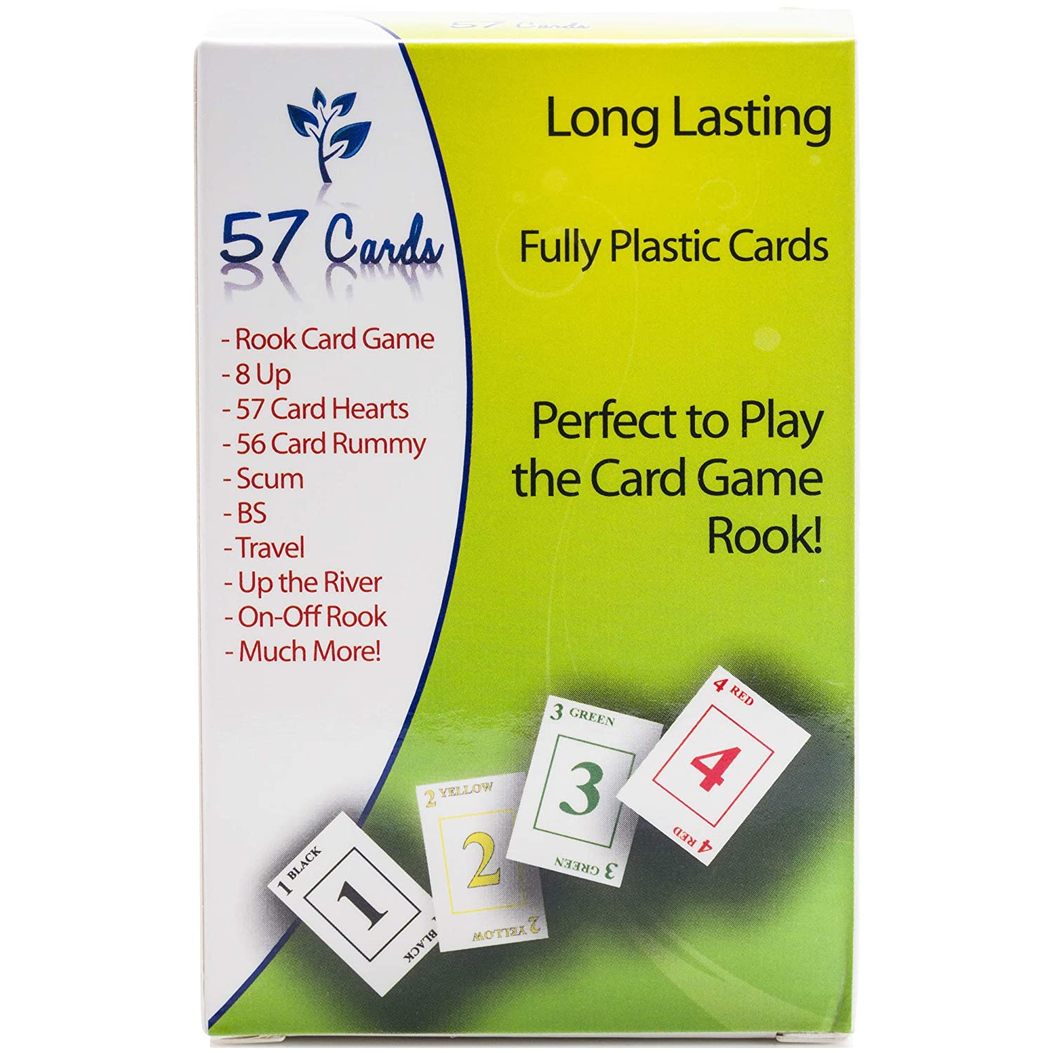 b400bc4e2a Amazon.com  57 Cards Plastics  Premium Rook Quality Cards  Green Backs    Toys   Games