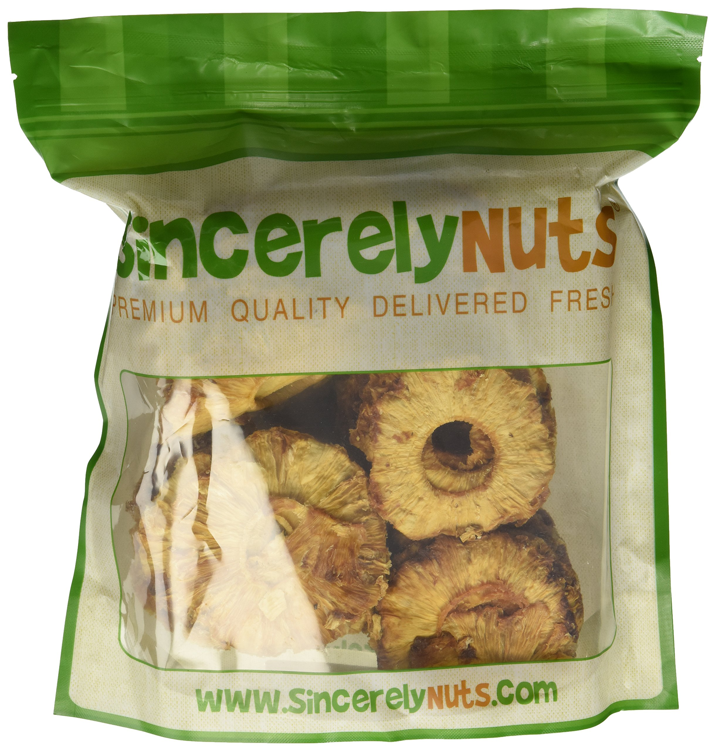 Sincerely Nuts Dried Natural Pineapple with No Sugar - Two Lb. Bag - Irresistibly Tasty - Unmatched Freshness - Insanely Healthy - Kosher Certified