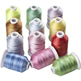 12 Variegated Color Polyester Embroidery Machine Thread for Most Home Embroidery Machines 1100 Yards Each