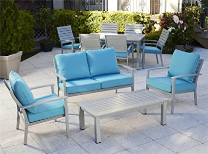 Cosco Outdoor Lounge Chairs, 2-Pack, Hand Painted Aluminum, Turquoise Cushions