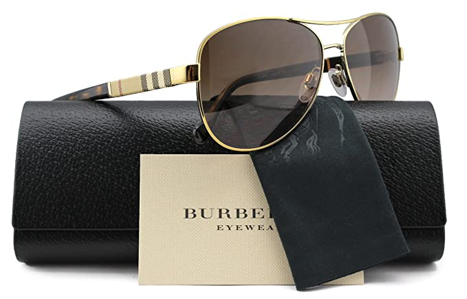 2799ac469622 Image Unavailable. Image not available for. Colour  Burberry BE3080 Aviator  Sunglasses Light Gold ...