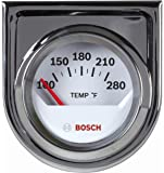 "Bosch SP0F000040 Style Line 2"" Electrical Water/Oil Temperature Gauge (White Dial Face, Chrome Bezel)"