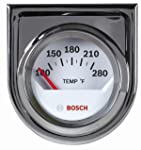 """Bosch SP0F000040 Style Line 2"""" Electrical Water/Oil Temperature Gauge (White Dial Face, Chrome Bezel)"""