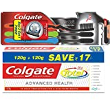 Total Advanced Health Saver Pack Toothpaste - 240 g and Colgate Slim Soft Charcoal Toothbrush (Buy 2 Get 1 Free)