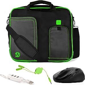 VanGoddy Pindar Green Trim Laptop Bag w/Accessories for Acer TravelMate B/Aspire Switch/Spin 1/10