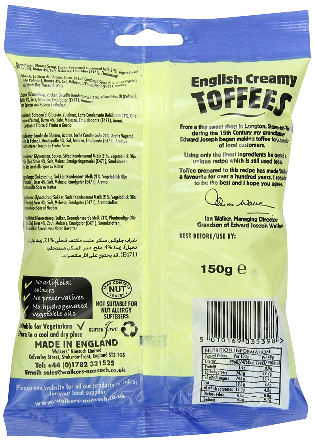 Amazon.com : Walkers Nonsuch Toffees, English Creamy, 5.29-Ounce Bag (Pack of 12) : Toffee Candy : Grocery & Gourmet Food