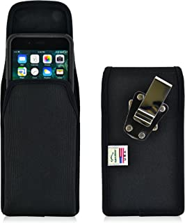product image for Turtleback Belt Clip Case Compatible with Apple iPhone 8 Plus & iPhone 7 Plus w/OB Commuter case Black Vertical Holster Nylon Pouch with Heavy Duty Rotating Belt Clip Made in USA