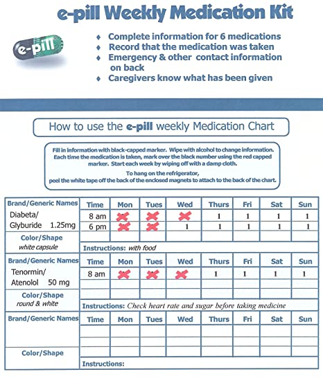 amazon com e pill weekly medication chart and pillbox health