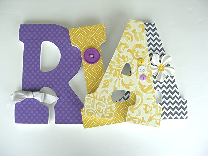 purple and yellow custom wood letters bedroom decorations for girls