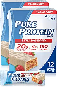 Pure Protein Bars, High Protein, Nutritious Snacks to Support Energy, Low Sugar, Gluten Free, Strawberry Greek Yogurt, 1.76oz, 12 Pack