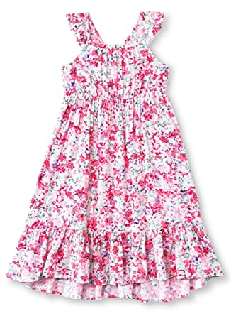 Amazon Com Cherokee Toddler Girls Floral Challis Maxi Dress Coral