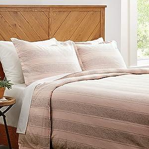 Amazon Brand – Stone & Beam Washed Linen Stripe Duvet Cover Set, King, Blush with Grey Stripe