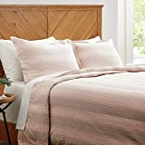 Amazon Brand – Stone & Beam Washed Linen Stripe Duvet Cover Set, Full / Queen, Blush with Grey Stripe