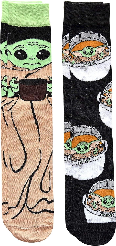 Star Wars Baby Yoda Eating Soup Men's Crew Socks 2 Pair Pack Shoe Size 6-12