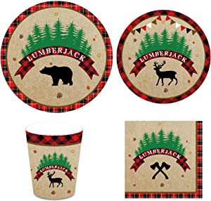 Lumberjack Party Supplies Pack – Serves 16 – Includes Plates, Cups and Napkins for Buffalo Plaid Birthday Party, Wedding Party Decorations