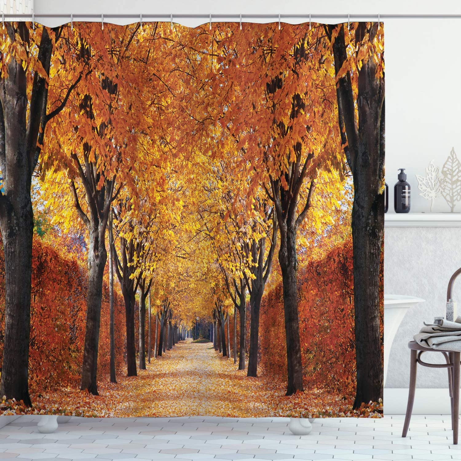 70 Long Ambesonne Autumn Shower Curtain Cloth Fabric Bathroom Decor Set with Hooks Pathway in The Woods Covered with Dried Deciduous Tree Leaves Romantic Fall Season Orange Brown