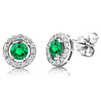 ByJoy Earrings for Women Sterling Silver solitaire Studs earrings Ruby with Cubic zirconia brilliant cut 925 Silver tjTLr8qIS3