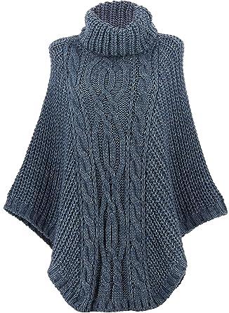 acheter populaire ebda0 050b2 Charleselie94® - Poncho Pull Laine Grande Taille Hiver bohème Bleu Jean  ELODY Bleu