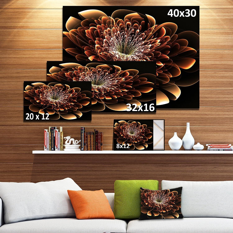 Designart PT8851-32-16 Brown Fractal Flower-Floral Digital Canvas Art Print-32x16 Yellow 32x16