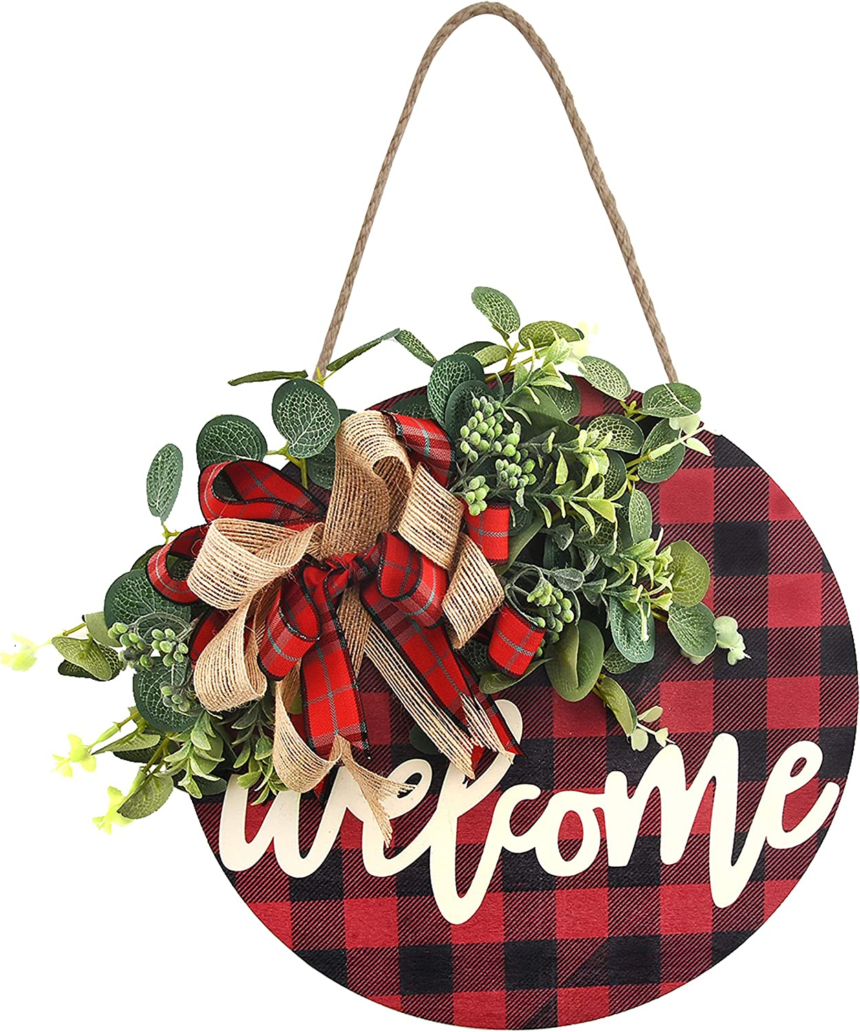 Christmas Welcome Sign Wooden Hanging Sign Buffalo Plaid Decor Front Porch Decorations for Christmas,Restaurant, Home, Outdoor with LED String Line (Welcome-red)
