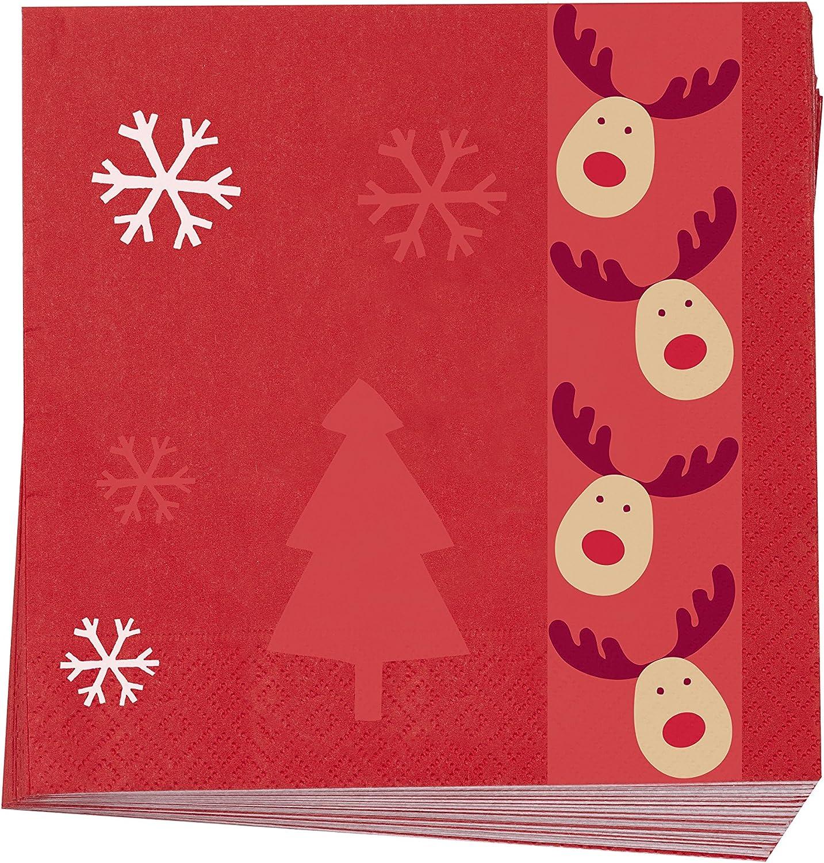 Confezione da 16 Neviti 16,5 x 16,5 x 0,1 cm Tovaglioli con Renna Rudolf in Legno Multicolore