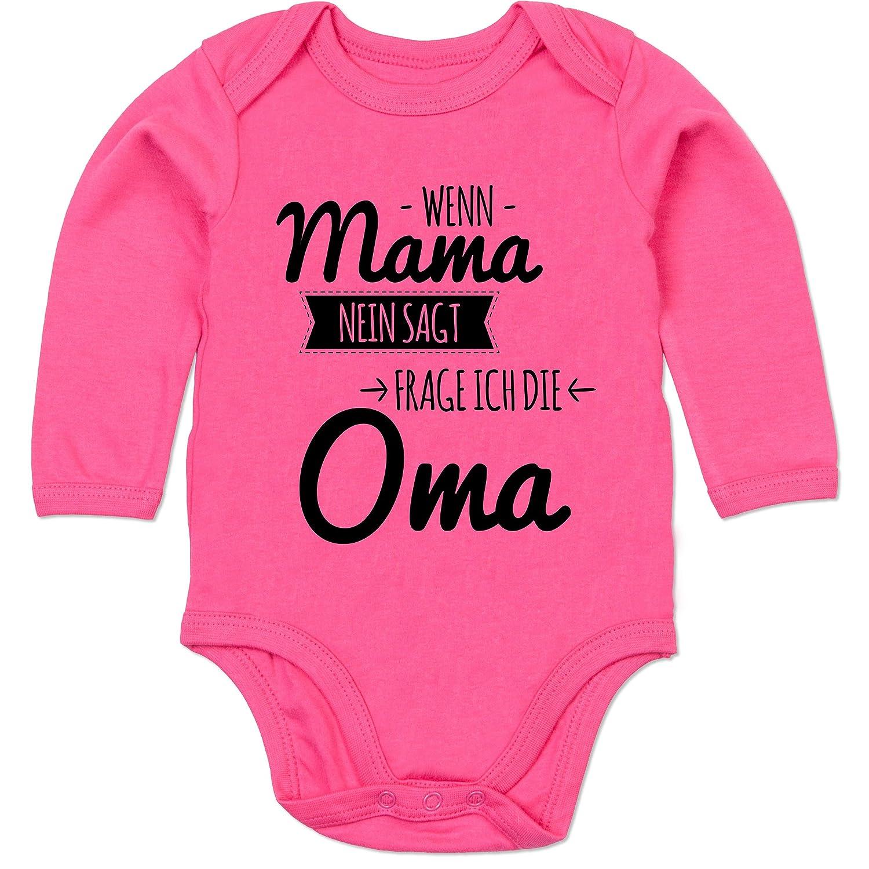 Wenn Papa Nein SAGT Frage ich Oma /& Opa schwarz Spr/üche Baby Shirtracer Kurzarm Baby-Shirt f/ür Jungen und M/ädchen